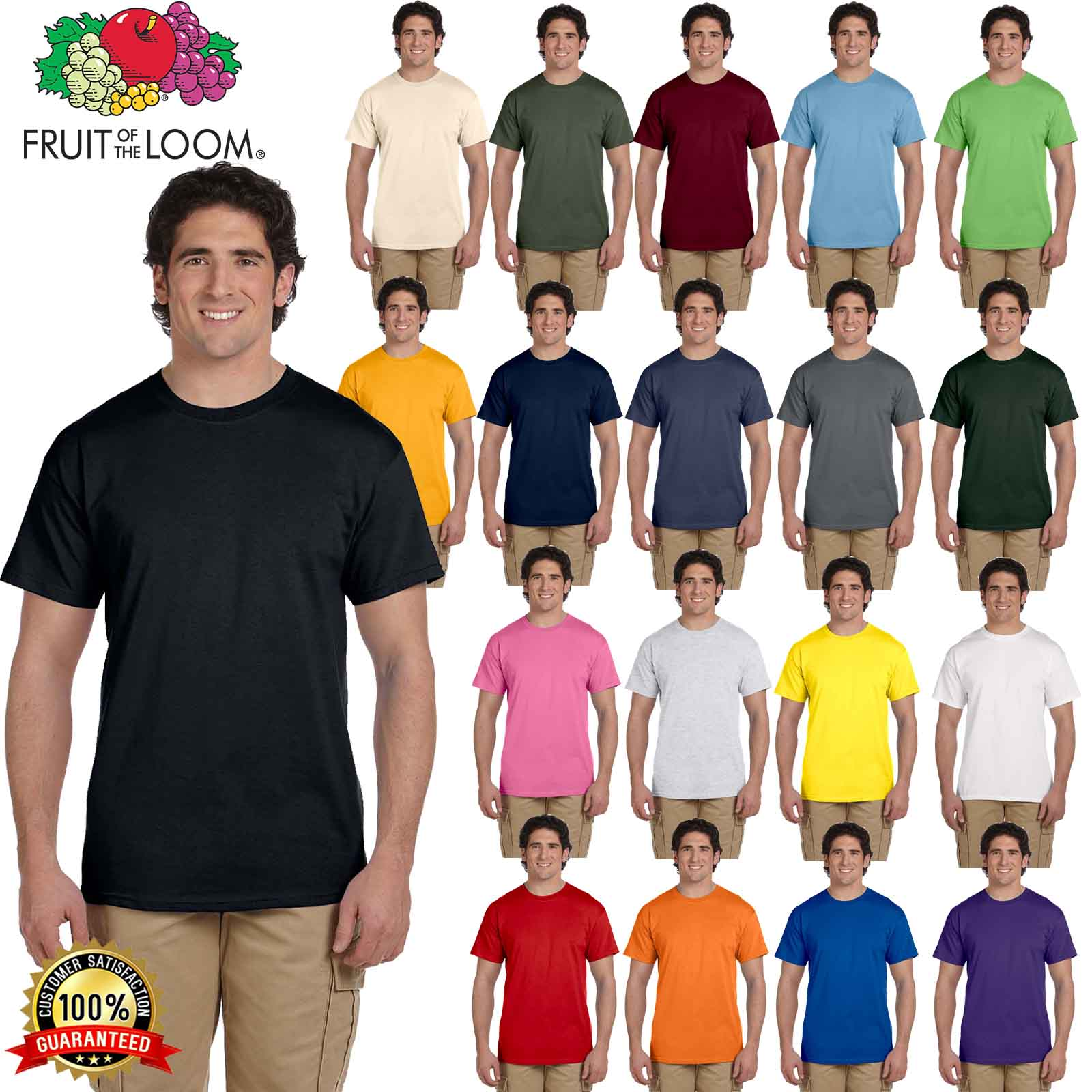 fruit of the loom mens t shirt s to xl blank hd cotton. Black Bedroom Furniture Sets. Home Design Ideas