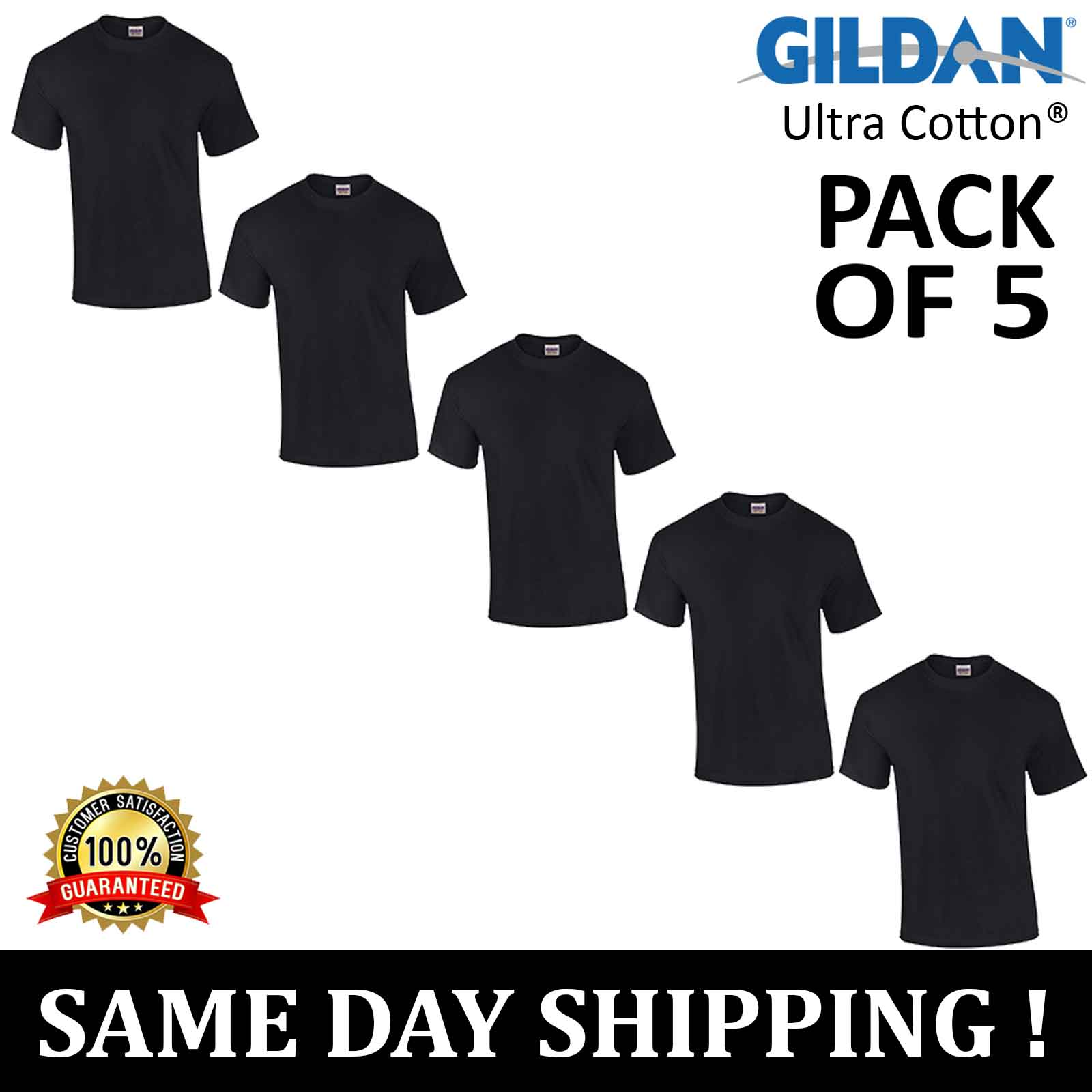 82a333b5aeec PACK OF 5 Gildan Plain Mens 100% Ultra Cotton 6 oz. T Shirt S-2XL Blank T- Shirt