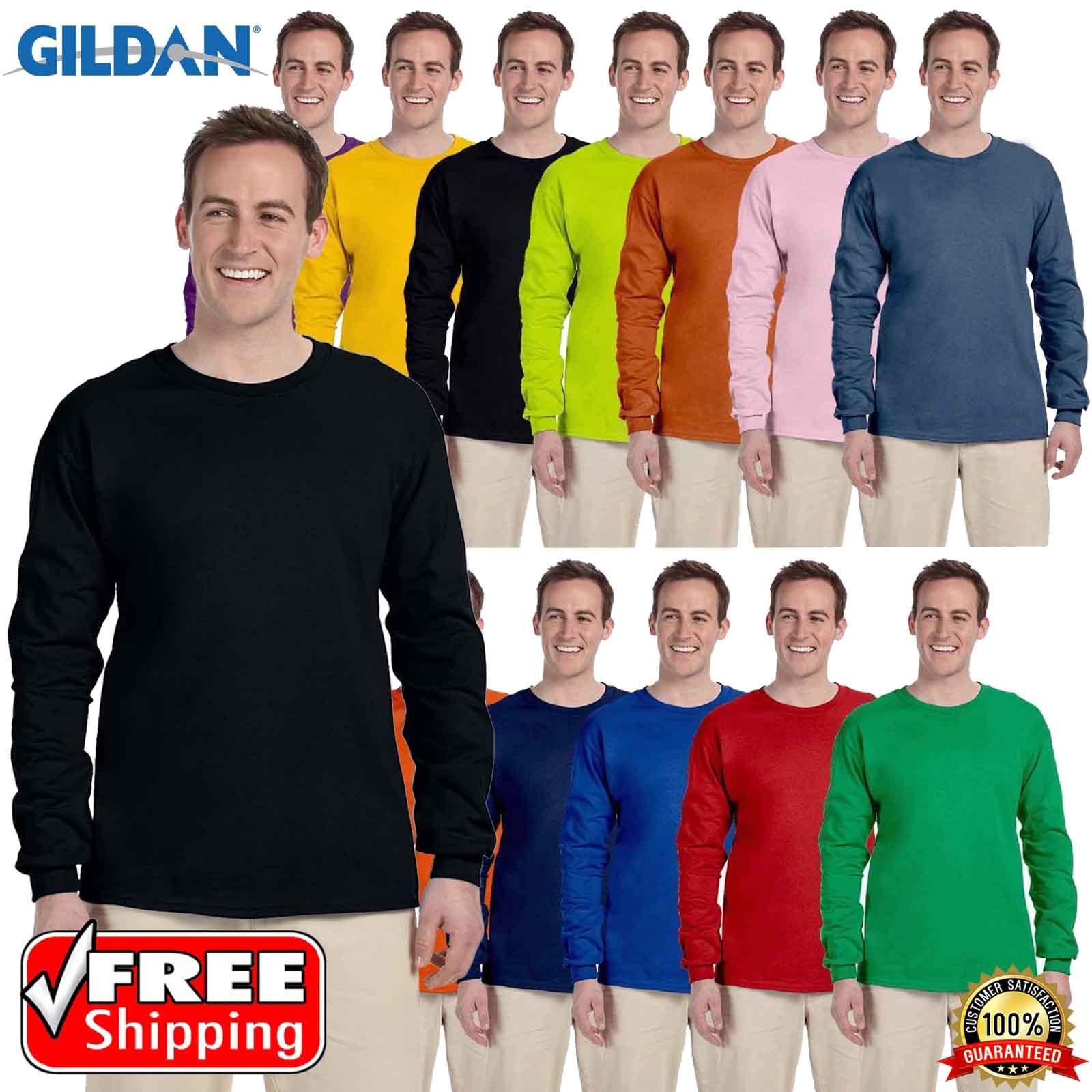b75588c7 Details about Gildan Heavy Cotton Long Sleeves Mens Blank T-Shirt S-XL  Plain T Shirt Tee G240