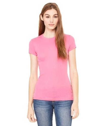 Ladies' Sheer Mini Rib Short-Sleeve T-Shirt