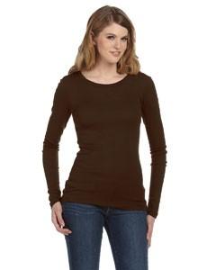 Ladies' Sheer Mini Rib Long-Sleeve T-Shirt