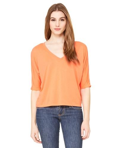 Ladies' Flowy Boxy Half-Sleeve V-Neck T-Shirt