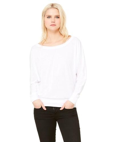 Ladies Flowy Long-Sleeve Off Shoulder T-Shirt