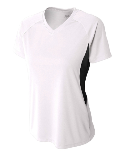 Ladies' Color Block Performance V-Neck T-Shirt
