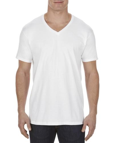 Adult 4.3 oz., Ringspun Cotton V-Neck T-Shirt