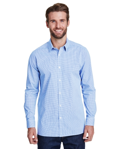 Men's Microcheck Gingham Long-Sleeve Cotton Shirt