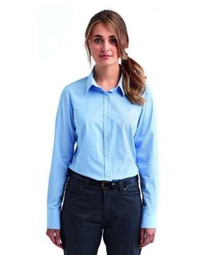 Ladies' Microcheck Gingham Long-Sleeve Cotton Shirt