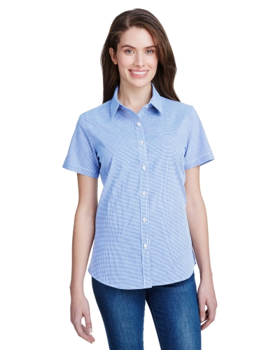 Ladies' Microcheck Gingham Short-Sleeve Cotton Shirt