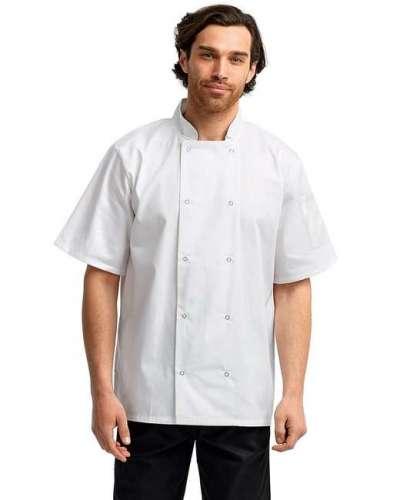 Unisex Studded Front Short-Sleeve Chef's Jacket