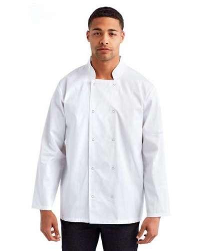 Unisex Studded Front Long-Sleeve Chef's Jacket