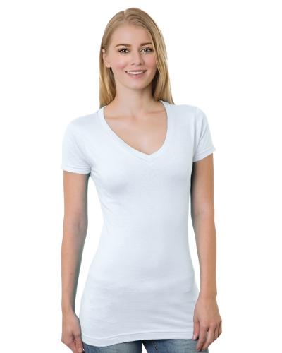 Women's 4.2 oz., Fine Jersey V-Neck T-Shirt