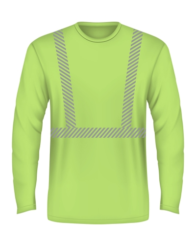 6.1 oz., 100% Cotton Hi-Visibility Segmanted Striping Long-Sleeve T-Shirt