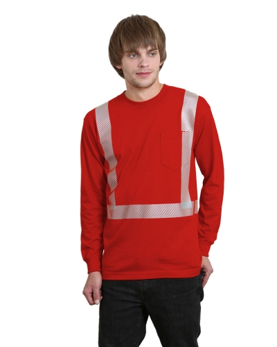 6.1 oz., 100% Cotton Hi-Visibility Segmanted Striping Long-Sleeve Pocket T-Shirt