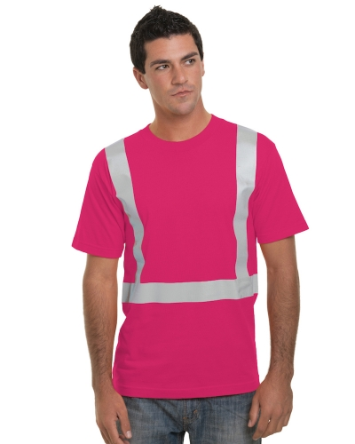 Hi Visibility 100% Cotton Crew Solid Striping T-Shirt