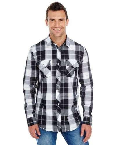 Men's Long-Sleeve Plaid Pattern Woven Shirt