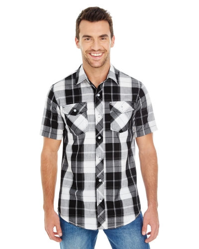 Men's Short-Sleeve Plaid Pattern Woven Shirt