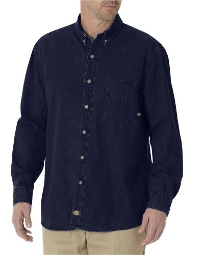 Unisex Long-Sleeve Button-Down Denim Shirt