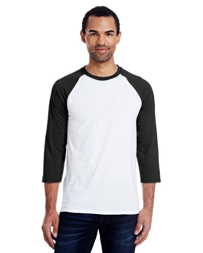 Hanes 42BA Men's Ringspun Cotton/Polyester Baseball T-Shirt