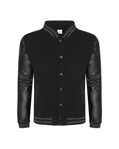 Men's 80/20 Heavyweight Urban Letterman Jacket with Leather Sleeves
