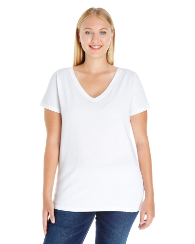 LAT 3807 Ladies Curvy V-Neck Premium Jersey T-Shirt