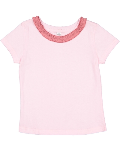 Toddler Girl's Ruffle Neck Fine Jersey T-Shirt
