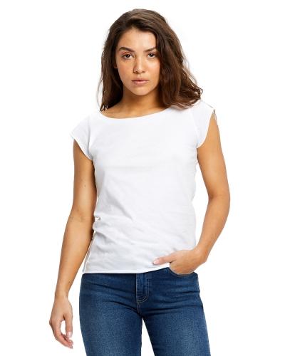Ladies' 3.8 oz. Cap Sleeve Raw Edge Open Neck
