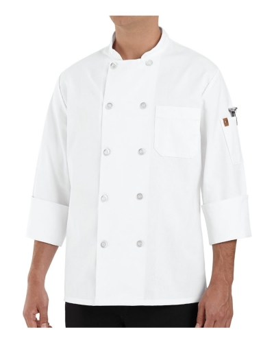 100% Polyester Ten Pearl Button Chef Coat