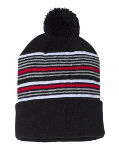 """12"""" Striped Pom-Pom Knit Cap"""