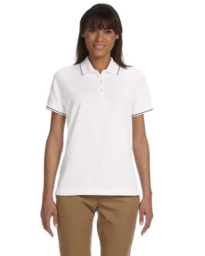 Ladies' Pima Piqué Short-Sleeve Tipped Polo