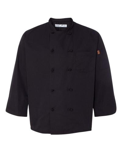 Black Knot Button Chef Coat