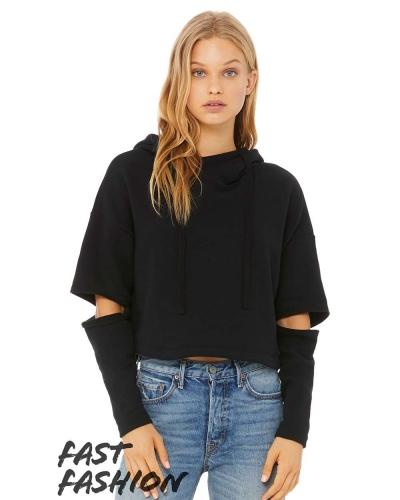 Fast Fashion Women's Cut Out Fleece Hoodie