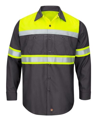 Hi-Visibility Colorblock Ripstop Long Sleeve Work Shirt
