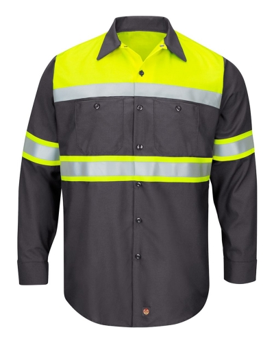 Hi-Visibility Colorblock Ripstop Long Sleeve Work Shirt - TALL