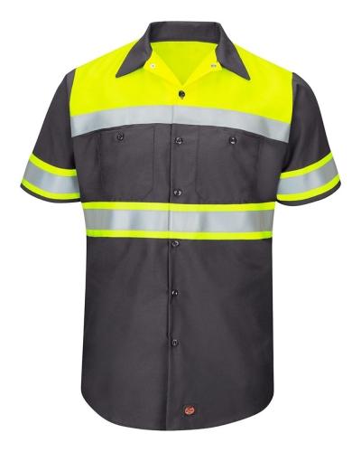 Hi-Visibility Colorblock Ripstop Short Sleeve Work Shirt - TALL