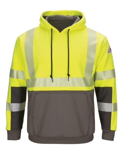 Hi-Visibility Color-Blocked Pullover Hooded Fleece Sweatshirt - Long Sizes