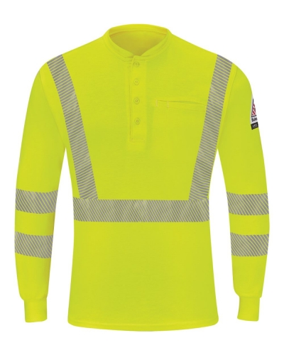 Hi-Visibility Lightweight Long Sleeve Henley - Long Sizes