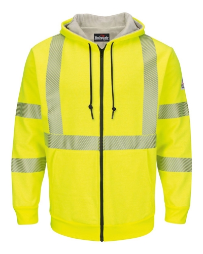 Hi-Visibility Zip-Front Hooded Fleece Sweatshirt with Waffle Lining - Long Sizes