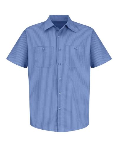 Industrial Stripe Short Sleeve Work Shirt