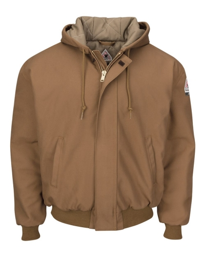 Insulated Brown Duck Hooded Jacket with Knit Trim