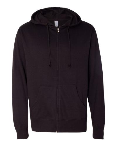 Lightweight Full-Zip Hooded Sweatshirt