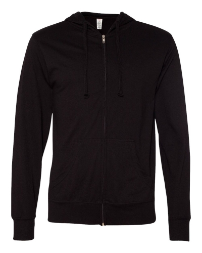 Lightweight Jersey Hooded Full-Zip T-Shirt