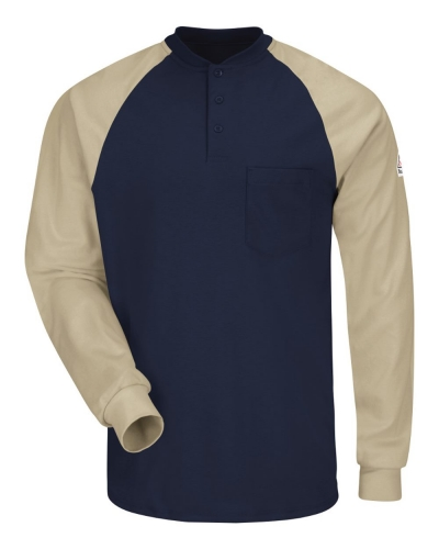 Long Sleeve Color-Block Tagless Henley Shirt