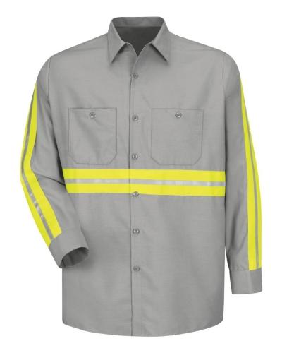 Long Sleeve Enhanced Visibility Industrial Work Shirt - Long Sizes