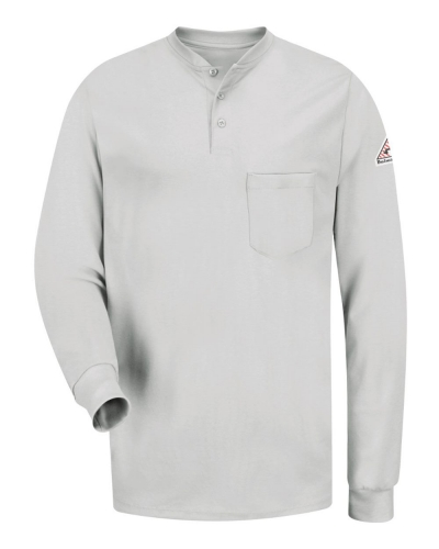 Long Sleeve Tagless Henley Shirt - Long Sizes