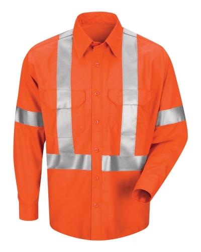 Men's Long Sleeve Poplin Dress Shirt With CSA Compliant Reflective Trim