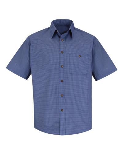 Mini-Plaid Uniform Short Sleeve Shirt - Long Sizes