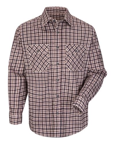 Plaid Long Sleeve Uniform Shirt - Long Sizes