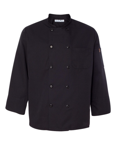 Ten Pearl Button Black Chef Coat