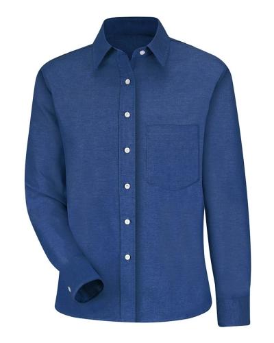 Women's Long Sleeve Oxford Dress Shirt - Extended Sizes