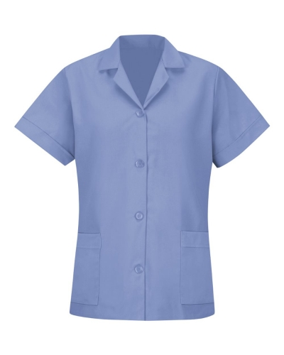 Women's Loose Fit Short Sleeve Button Smock
